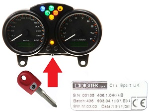 Ducati 1x chip key → DIGITEK Cluster